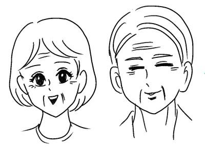 じいちゃんばあちゃんの顔の描き方のコツ特徴を把握すれば簡単
